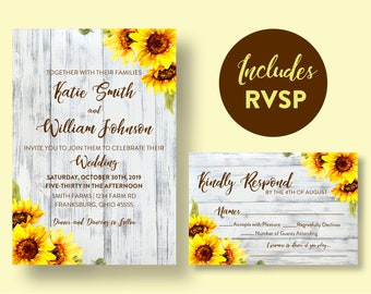 Sunflowers and White Barn Wood Wedding Invitation and RSVP