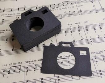 black camera - card stock - die cut - set of 25