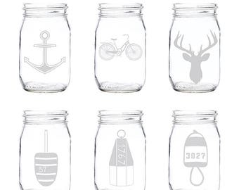 Etched Mason Jar Glasses (Set of 4) | Mason Jar Glasses | Mason Jar | Glassware | Glasses | Custom Glasses | Etched Glasses | Made in Maine