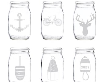 Etched Mason Jar Glasses (Set of 4)   Mason Jar Glasses   Mason Jar   Glassware   Glasses   Custom Glasses   Etched Glasses   Made in Maine