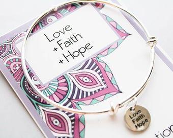 Inspiration Bracelet - Love Faith Hope - Wish Intention Bracelet - Set your Dreams in Motion- Friendship Gift