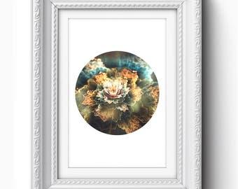 Flower Print, Floral Wall Art, Fractal Print, Flower Art Print, Flower Printable, Printable Art, Instant Download, Orange, Blue