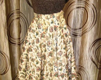Vintage Cream Quilted Circle Skirt with Floral Design and Rhinestone Detail, ca 1950s