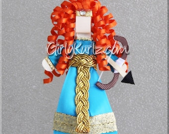 Brave Hair Clip, Princess Hair Clip, Princess Hair Bow, Merida from Brave Ribbon Sculpture Hair Clip