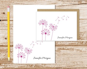 personalized dandelion stationery set . dandelion notepad + note card set . botanical notecards note pad . stationary set . gift set