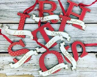 Personalised christmas tree decorations - first christmas, secret santa