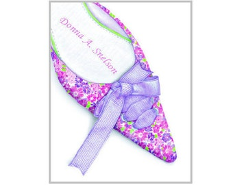 Personalized Shoe Lover Artwork Print, Woman's Floral Shoe Artwork, Pink Purple Flowers, Christmas Gift, Pesonalized Women's Shoe Gift