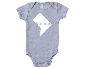Washington DC 'Made.' Cotton One Piece Bodysuit - District of Columbia Infant Girl and Boy