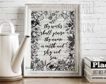 Downloadable Prints | All Thy Works | Holy Holy Holy | Hymn Art | Watercolor Sheet Music Floral | Christian Printable| Instant