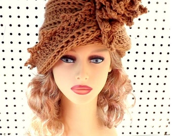 Crochet Cloche Hat 1920s, Womens Crochet Hat Womens Hat 1920s, Toasted Almond Lauren 1920s Cloche Hat Crochet Flower