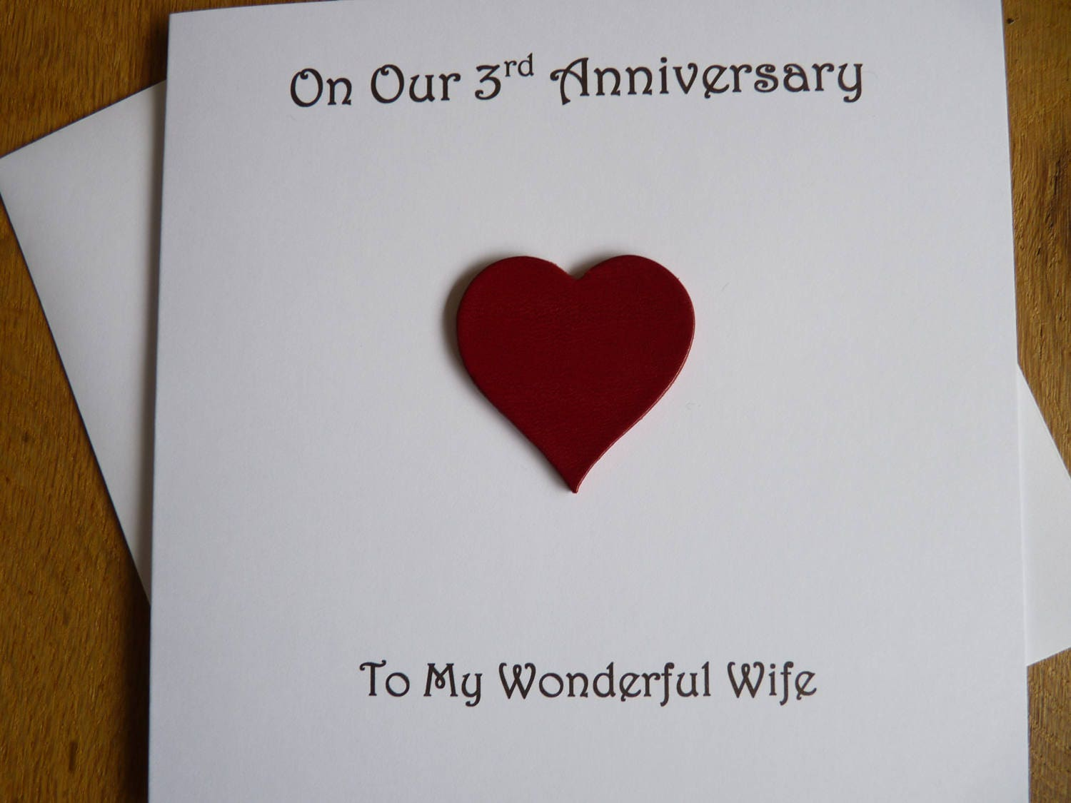 Gift For 3rd Wedding Anniversary: 3rd Anniversary Card Leather Three Years 3rd Wedding