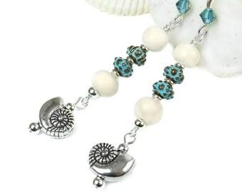 Nautilus Shell Earrings, Silver Metal Seashell Earrings, Long Boho Dangles, Beach Earrings, Wooden Beaded Earrings, Ocean Inspired, Sterling