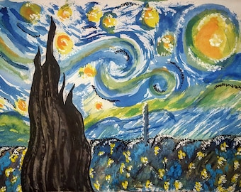 Watercolor Painting:  My Starry Night