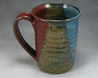 Large Coffee Mug Red Blue and Yellow 16 Ounce Ceramic Coffee Mug Coffee Cup Pottery Coffee Mug Wheel Thrown Pottery A