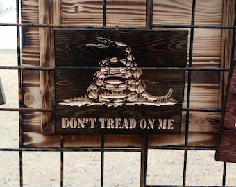 Carved Mini Pallet Sign Don't Tread On Me FREE SHIPPING in the USA, Rustic Home Decor, Texas Art, Made in America