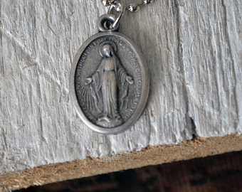 Vintage Miraculous Medal - Catholic - Religious Italian Medal - Christian - Pray For Us - Vintage Handmade - Leather or Chain Necklace