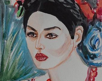 Ukrainian women Aquarelle. Ukrainian in a wreath of flowers. ORIGINAL watercolor painting by Nataly Basarab. Female romantic gift
