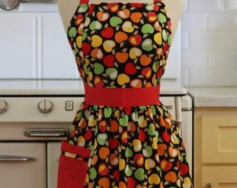 Retro Apron Colorful Apples on Black - CHLOE