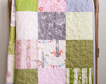 Modern Baby Quilt, Organic Cotton Woodland Pink, Green, Grey Modern Patchwork Baby Quilt, Handmade Custom Personalized Toddler Quilt Girl