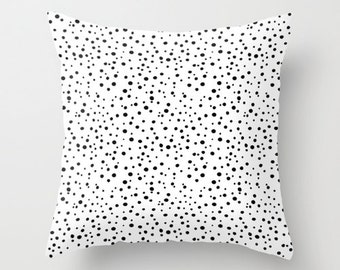 Polka Dot Pillow WITH Insert, Black and White Pillow Cover, Polkadot Throw Pillow Case, Polka Dot Decor,Black White Pillow,Polka Dot Bedding