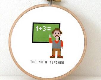 Cross stich pattern DIY gift for mathmatics teacher. Back to School ornament. Pixel people pattern
