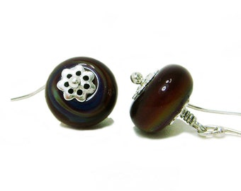 Terra Cotta - Brown Lampwork Glass Bead and Sterling Silver Wire Wrapped Dangle Earrings