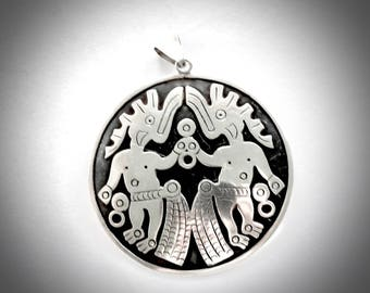 Sterling Large Tribal Medalion Mexican Taxco