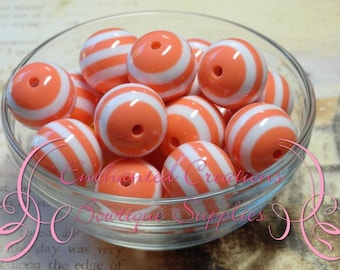 20mm Coral and White Striped Beads Qty 10