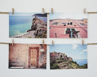 Travel Postcards Set of 4, Printed on Handmade Eco Friendly Mulberry Paper- Cinque Terre Italy, Mediterranean Europe Photography