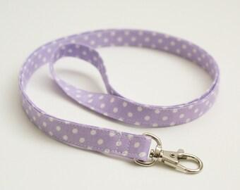Lavender Polka Dot Skinny Fabric Lanyard - Thin Lanyard with Swivel Clasp - 1/2 Inch Key Lanyard - Half Inch Key Strap - Teacher Lanyard