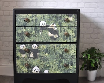 SOLD SOLD SOLD  Upcycled Mid Century Vintage Retro Lebus Chest of Drawers Panda and Bamboo Decoupage