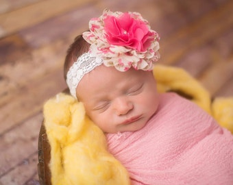 Cluster Headband, Baby Girl Headband, Newborn Headband, Lace Headband, Newborn Photo Prop, Baby Girl Prop