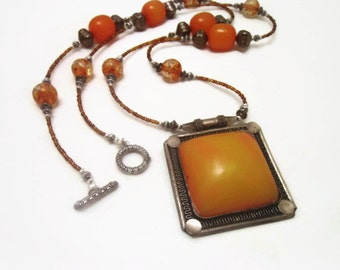 Extra Long Deep Orange Tibetan Tree Honey Amber Pendant Necklace, Baltic Amber, Dark Silver, Signature Statement Necklace