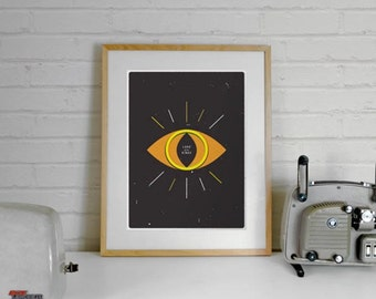 Eye of Sauron, Lord of the Rings Poster Inspired,Lord of the Rings, A4 Illustration Art Print, Illustration Print, minimal print