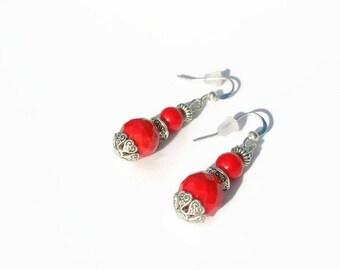 Red pearls earrings glass