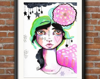 Kindness and Whimsy - Original Watercolor Abstract Bohemian Woman Goddess whimsy surrealism boho portrait Painting