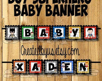 Superhero Baby Banner Boy Superhero baby shower banner Marvel decorations Super hero Baby name banner Super baby sign Its a Boy banner