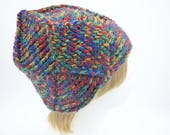 Diamond crochet beanie for women colorful hat for teens warm bulky winter beanie