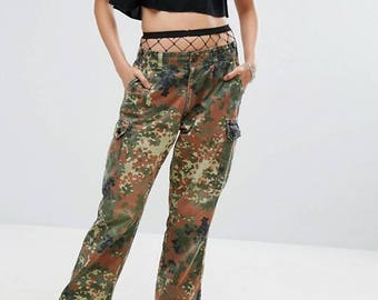 German army camouflage combat trousers cargo pants bottoms army military Bundeswehr camo flecktarn Rnv15cVc54