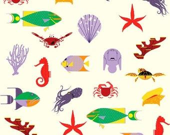 Birch Fabrics Organic  Charley Harper Maritime - Main KNIT