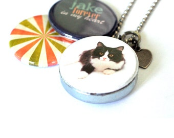 Memorial Cat Locket Necklace - Personalized, Keepsake, Recycled Set by Polarity, Your Cat's Name and Picture, Magnetic