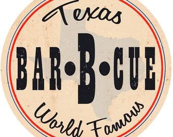 Bar-B-Cue Texas Barbecue Food Wall Decal #48768