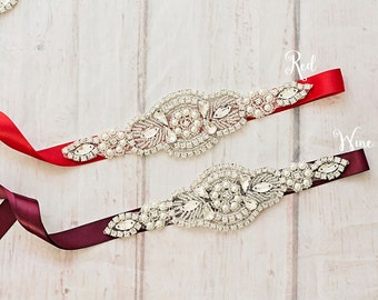 Bridal Sash..Red Wine Flower Sash / Belt -Flower Girl Sash..Burgundy Bridal Belt/ Wine Sash..Maternity Sash / Wedding Sash