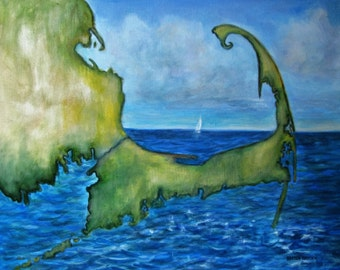 """Map Painting of Cape Cod SailboatLandscape  signed Acrylic   16""""x20"""""""