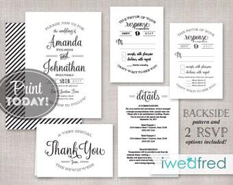 Wedding Invitation Printable, Kraft Wedding Invitation, Wedding Invitation Editable Template, DIY, Printable PDF, Instant Download - #WED107