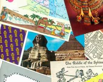 Egypt Collage Package - Altered Books, Artist Trading Cards, School Projects