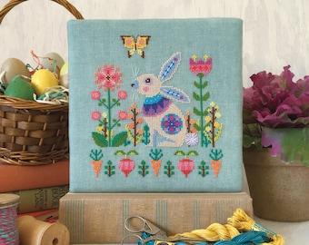 Sweet Spring - Easter Bunny Rabbit - Satsuma Street modern cross stitch pattern PDF - Instant download