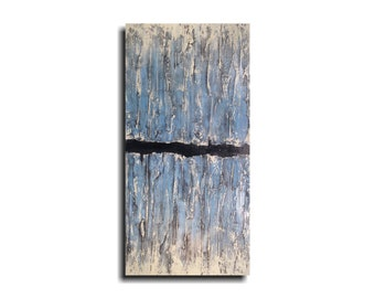 Large Abstract painting industrial wall art acrylic blue painting JMjArtstudio , 36 inch, gift for him