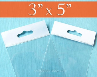 100,  3 x 5 Inch HANG TOP Clear Self Adhesive Cello Bags  for Jewelry Display, OPP