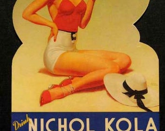 NICHOL KOLA GIRLIE on the Beach Soda Pop Die Cut in Design Magnet. Exact reproduction & hand cut in shape as designed.